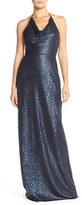 Amsale Women's 'Honora' Draped Sequin Tulle Halter Gown