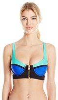 Beach Bunny Women's Endless Summer Underwire Push up Bikini Top with Zipper Details
