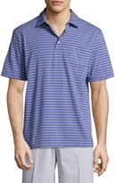Peter Millar Grandfather Seaside Striped Polo Shirt, Purple