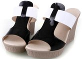 ACE SHOCK Women's Simple High Heel Wedges Sandals T Strap Slippers (7, )