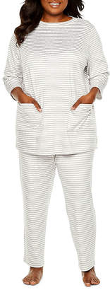 Liz Claiborne Long Sleeve 2-pc. Pajama Pant Set Womens-Plus