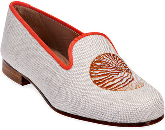 Stubbs And Wootton Nautilus Flax Shell Embroidered Linen Slipper Loafers