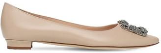Manolo Blahnik 10mm Hangisi Leather Flats