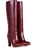 KORS Bordeaux Leather Stacked Heel Boots