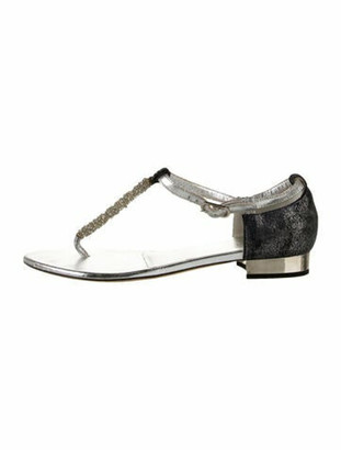 Chanel Leather Beaded Accents T-Strap Sandals Grey