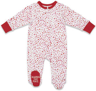 Pajamas for Peace Girls' Footies Red - Red & White Hearts Zip-Front Footie - Newborn & Infant