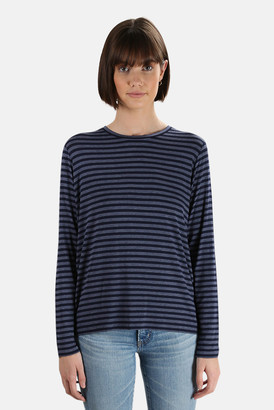 Majestic Filatures Soft Touch Striped Long Sleeve Crew Tee