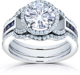 Kobelli Jewelry 3 CT TW Forever Brilliant Moissanite 14K White Gold Double-Band Halo Bridal Set with Diamond and Blue Sapphire Accents