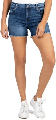 KUT from the Kloth Gidget High Waist Fray Hem Cutoff Denim Shorts