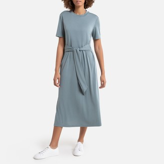 La Redoute Collections Short-Sleeved Midi Dress with Tie-Waist