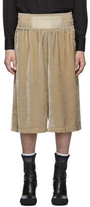 BEIGE Random Identities Velour Boxing Shorts