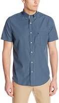Nautica Men's True Navy Gingham Short Sleeve Shirt