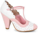 Bettie Page White & Light Pink Leatherette Spectator Paige T-Strap Heels Shoes