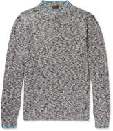 Altea - Mouline Contrast-tipped Mélange Knitted Sweater