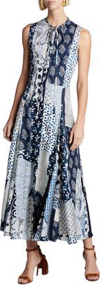 Oscar de la Renta Sleeveless Patchwork Silk Day Dress w/ Back Cutout