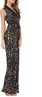 Kay Unger New York Stretch Velvet Gown w/ Sequins & Satin