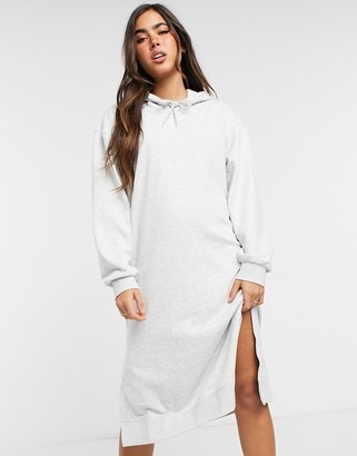 Weekday Macie midi hoodie dress in grey