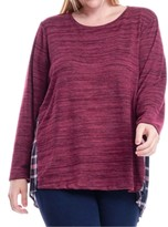 Fever Plus Size Knit & Plaid Top
