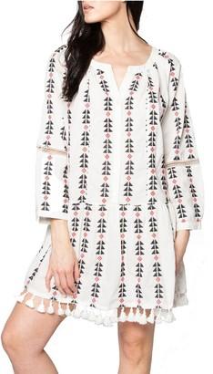 Area Stars Long Sleeve Geometric Print Dress -Sorrento