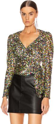 ATTICO Sequin Wrap Top in Multicolor | FWRD