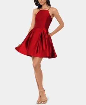 Betsy & Adam Petite Halter Fit & Flare Dress