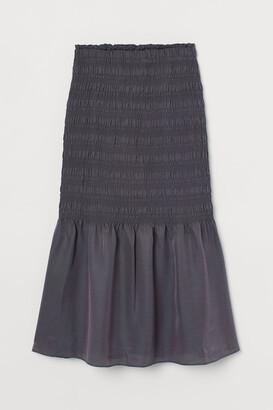 H&M Smocked Silk-blend Skirt - Gray