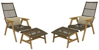 Outdoor Interiors 4Pc Teak & Wicker Basket Lounger Set