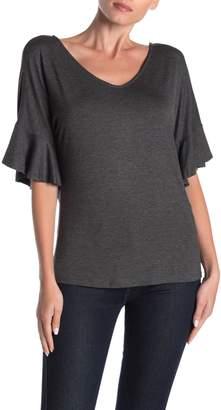 Loveappella V-Neck Short Ruffle Sleeved Top