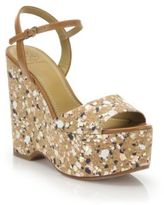 Tory Burch Solana Confetti Cork Platform Wedge Sandals