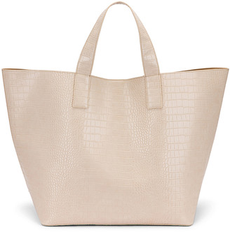 Studio Amelia 3.3 Vegan Oversized Shopper Bag in Ecru Croc Leather | FWRD