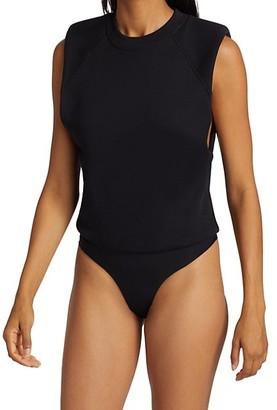 JONATHAN SIMKHAI STANDARD Channing Sleeveless Shoulder Pad Bodysuit