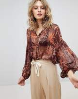 Maison Scotch Sheer Printed Blouse With Glitter Stripe