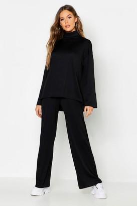 boohoo Roll Neck T-Shirt + Trouser Co-Ord Set
