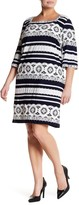 Sandra Darren 3/4 Sleeve Jersey Shift Dress (Plus Size)