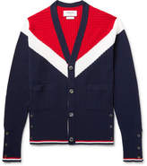 Thom Browne Colour-block Cashmere Cardigan - Midnight blue