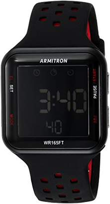 Armitron Sport Unisex 40/8417BRD Red Accented Digital Chronograph Black Perforated Silicone Strap Watch