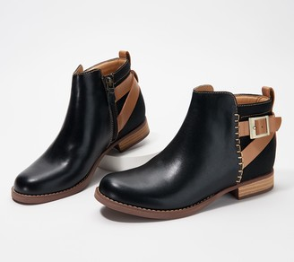 Spenco Orthotic Leather Ankle Boots - Dove Creek