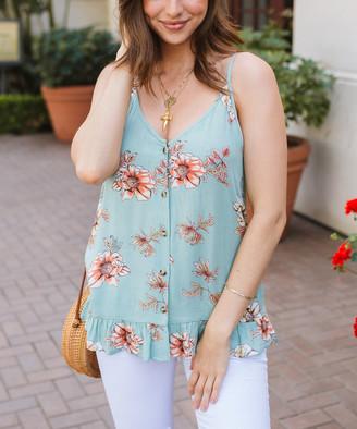 Amaryllis Women's Tunics FLORAL - Sage Floral Button-Up V-Neck Peplum Top - Women & Plus