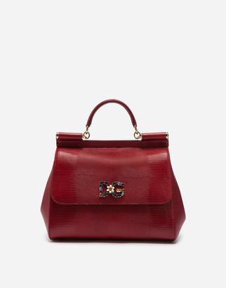 Dolce & Gabbana Sicily Handbag In Iguana Print Calfskin And Crystal Logo Patch