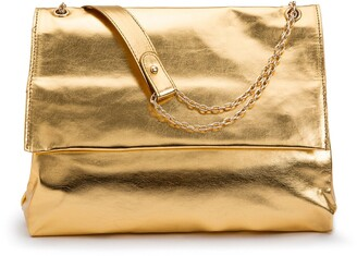 La Redoute Collections Metallic Faux Leather Clutch Bag with Flap and Gold Chain