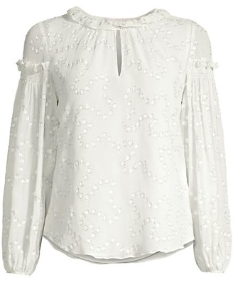 Rebecca Taylor Metallic-Trim Polka Dot Silk-Crepe Ruffle Puff-Sleeve Blouse