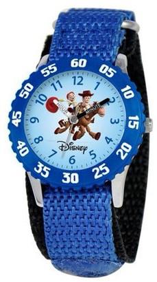 Disney Woody and Jessie Boys' Stainless Steel Time Teacher Watch, Blue Bezel, Blue Nylon Strap