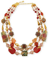 Jose & Maria Barrera Three-Strand Decoupage & Agate Necklace