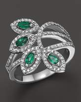 Bloomingdale's Emerald and Diamond Ring in 14K White Gold - 100% Exclusive