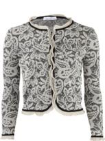 Oscar de la Renta Long Sleeve Lace-Knit Cardigan Jacket