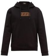 Fendi Logo-applique Cotton-blend Hooded Sweatshirt - Mens - Black