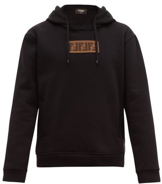 Fendi Logo-applique Cotton-blend Hooded Sweatshirt - Black