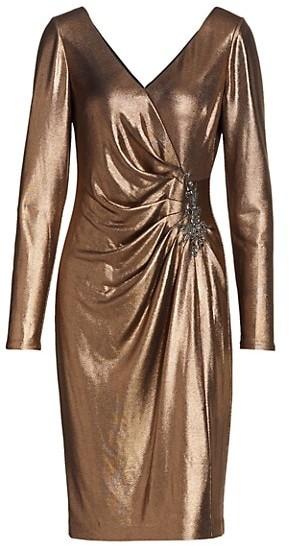 Marchesa Notte V-Neck Foiled Lame Side Pleats Dress