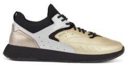 HUGO BOSS Running Style Sneakers With Metallic Leather Uppers - Gold
