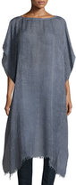 Eileen Fisher Short-Sleeve Airy Linen Maltinto Long Poncho, Yarrow